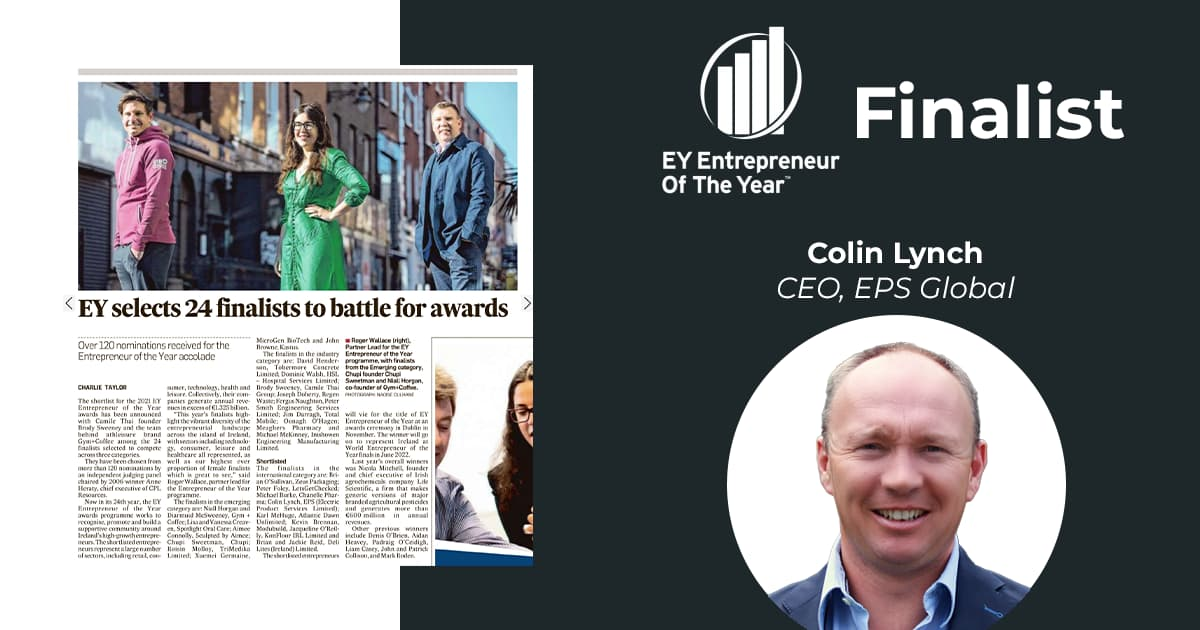 EPS Global CEO Colin Lynch Shortlisted as Finalist for 'EY Entrepreneur of the Year'